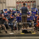 Jenny Wigram rehearsing with SASO in St Albans Abbey